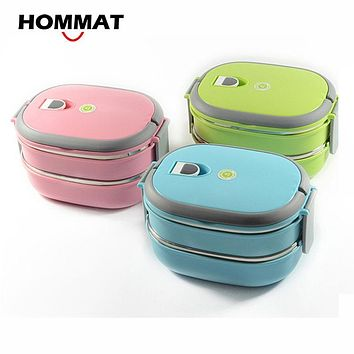 HOMMAT 2 Tier Stainless Steel Bento Lunch Boxs Japanese Insulated Thermo Lunchbox Thermal Metal Food Container Handle Portable
