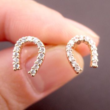 Good Luck Horseshoe Shaped Rhinestone Stud Earrings in Silver or Rose Gold