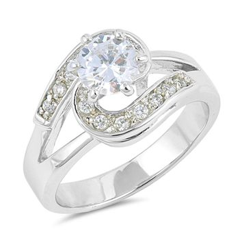 Sterling Silver Halo Twist Cubic Zirconia Engagement Ring Size 8, 9, 10
