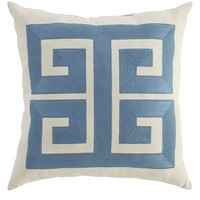 Greek Key Pillow - Cadet