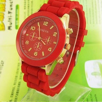 Men Women Unisex Analog wrist Silicon Sport Watches Red