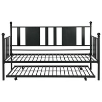 Twin Black Metal Daybed Frame with Rounded Finials and Trundle Bed