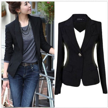 Winter Women's One Button Slim Casual Business Blazer Suit Jacket Coat Outwear = 1920310212
