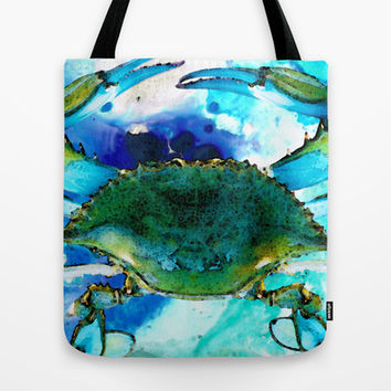 Blue Crab - Abstract Seafood Painting Tote Bag by Sharon Cummings