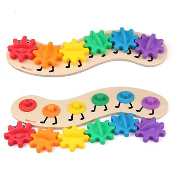 Big Gear Caterpillar Wooden Baby Puzzle Toy