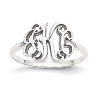 Sterling Silver, 10k or 14k White Gold Laser Polished Monogram Ring