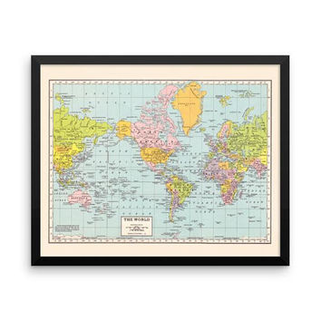 World Map Framed Print - vintage world map print, travel decor, dorm decor, office, den