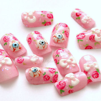 Halloween, eyeballs, bows, 3D nails, Japanese nail art, kawaii pink set