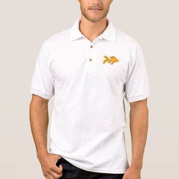 Gold Butterfly Koi Swimming Drawing Polo Shirt