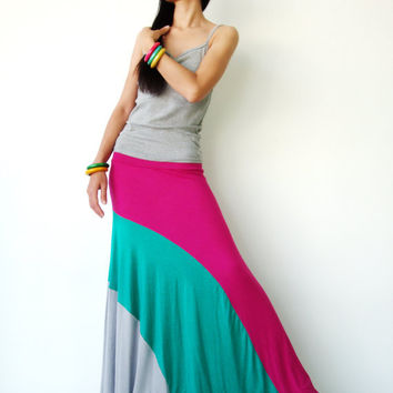 NO.102  Magenta-Green-Light Grey Rayon Spandex Color Block Maxi Skirt Strapless Sun Dress