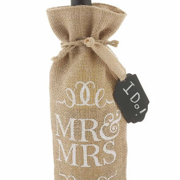 MUD PIE MR AND MRS BURLAP WINE BAG