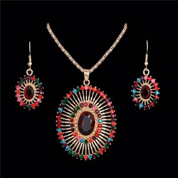 Bohemian Fashion Multi-colored Oval Shape Rhinestone Jewelry Set