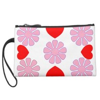 hearts & flowers by j3ll3y wristlet clutch