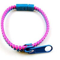 Hip Zip Zipper Bracelet - Pink/Blue