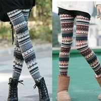 Must-have Fairisle Knit Pattern Leggings, Warm, Good Stretch, S M