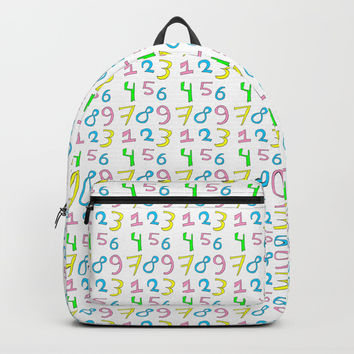 number 1- count,math,arithmetic,calculation,digit,numerical,child,school Backpacks by oldking