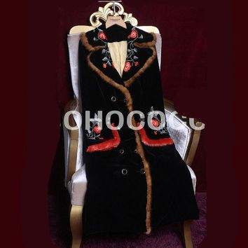 Europe And United States Winter Fashion Velvet Embroidery Long Thin Coat Cotton Clothes
