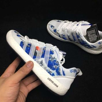 hcxx A306 Adidas Clima Cool Boat Lace Graphic Boost Breathable Running Shoes Blue White
