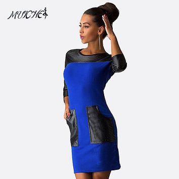 2017 new women casual Patchwork dress with PU pocket fashion popular Three Quarter sleeve O-neck loose spring autumn dresses