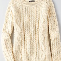 AEO Women's Cable Knit Sweater (Cream)