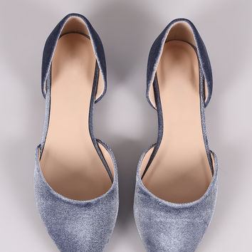 City Classified Velvet Pointy Toe Dorsay Flat | UrbanOG