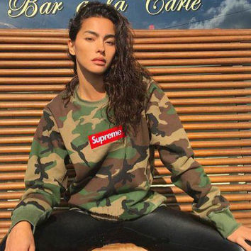 Supreme Fashion Camouflage Long Sleeve Scoop Neck Top Sweater Pullover