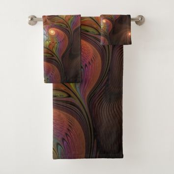 Colorful Fluorescent Abstract Modern Brown Fractal Bath Towel Set
