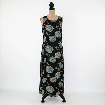 Sleeveless Floral Maxi Dress Women Medium Long Boho Summer Dress Chiffon Floral Grunge Vintage Clothing Womens Clothing