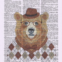 Teddy bear on Upcycle Vintage Page Book Print Art Print Dictionary Print Collage Print