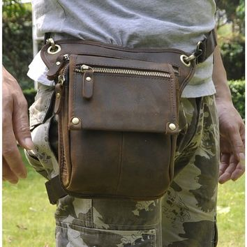 Le'aokuu Mens Genuine Leather Messenger Hiking Waist Hip Bum Pack Drop Leg Bag