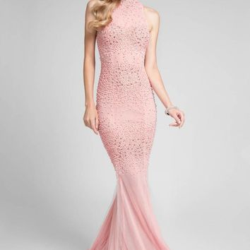 Terani Couture - Elegant Beaded High Neck Polyester Mermaid Gown 1712P2450