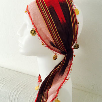 Traditional fabric stripped cloth adult woman red authentic fancy headband headscarf headwrap hairband beads hair accessory coins fashion
