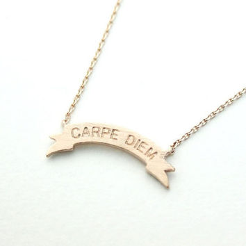 Carpe Diem Tag Pendant -Necklace in 3 colors-carpe diem- unique necklace - gift idea- trend gift - hifh fashion - free shipping