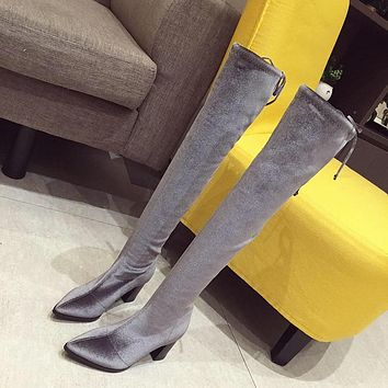 Women Fashion Over The Knee Pointed Toe Square Heel Boots