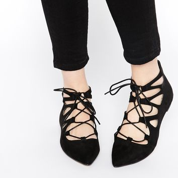 ASOS LANA Lace Up Ballet Flats