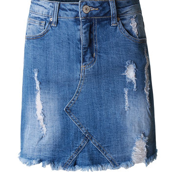 LE3NO Womens High Rise Distressed Ripped Denim Skirt with Frayed Hem