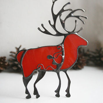 Free Shipping! Christmas deer decoration, red reindeer, stained glass ornament, stained glass suncatchers
