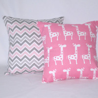 "18 "" x 18"" Gray and Pink Chevron Zig Zag, Pink Giraffes Decorative Pillow Covers Home Decor Baby Nursery Baby Girl Set of 2"