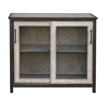 Dylan Wire Mesh Sliding Doors Aged Driftwood Gray Accent Cabinet by Uttermost