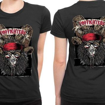DCCKL83 Foo Fighters Goat Monster 2 Sided Womens T Shirt