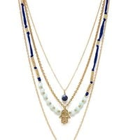 Ettika Hamsa Layered Necklace in Blue