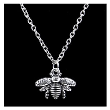 Silver Cute Honey Bee Statement Pendant Necklace For Women