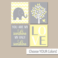 YELLOW Gray Nursery, Girl Elephant Nursery Decor, Baby Girl Nursery Decor, Girl Bedroom Pictures, CANVAS or Prints Sunshine Quote Set of 4