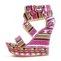 Bamboo Pamela-75 Fuchsia Tribal Bow Platform Open Toe Wedge Sandals wowtrendz