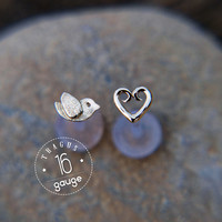 Tiny bird TRAGUS SET Sterling silver Labret /16 gauge/ BioFlex/tragus heart/ tragus earring/cartilage earring