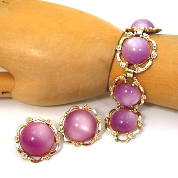 Vintage Purple Moonglow Bracelet and Clip Earrings, 1950s Jewelry, Floral Design on Goldtone Setting, Spring Summer Jewelry, Gift for Her