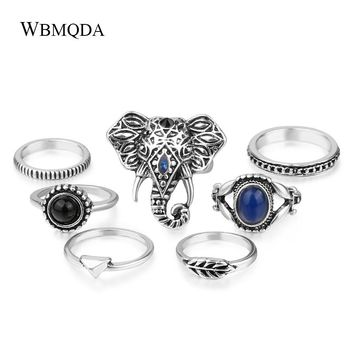7 Pcs/lot Personalized Elephant Head Knuckle Ring Set Vintage Thai Silver Eye Feather Midi Rings For Women Punk Jewelry