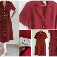 WEILL Paris Belted Red Button Up Dress, Linen Dress Short Sleeve, Button Down Summer Haute Couture Dress, With Zipped Pocket Belt, size 10,