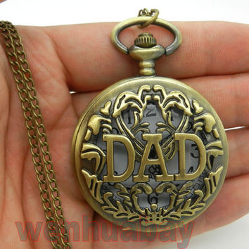 [Happy Father's Day] Antique DAD Pocket Watch Hollow Design Pendant Bronze necklace Mens Happy Father's Day Gift