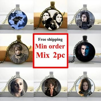 New Game of Thrones Necklace Game of Thrones Jewelry Glass Photo Pendant Necklace HZ1